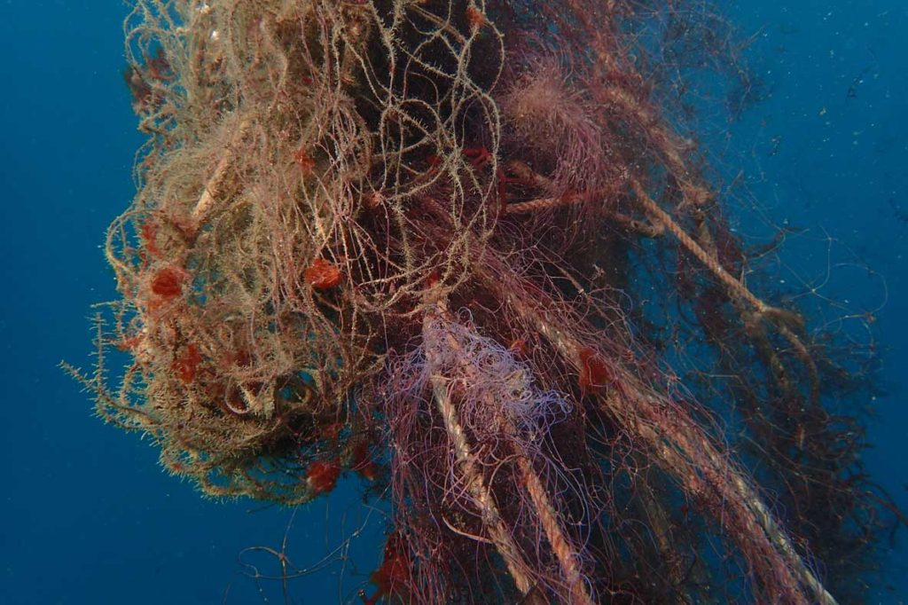 ghost net drifting in Indian Ocean