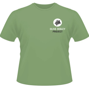 Green short sleeved Olive Ridley t-shirt front