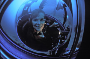 Dr. Sylvia Earle sitting on a Submersible