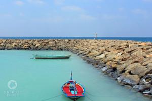 seawall Maafushi harbour Maldives