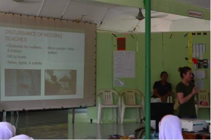 Dr Jillian Hudgins explaining how disturbing nesting females and nesting beaches may prevent nesting all together.