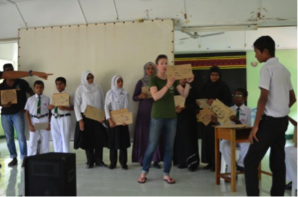 Dr Jillian Hudgins interactive food web game school children Maldives