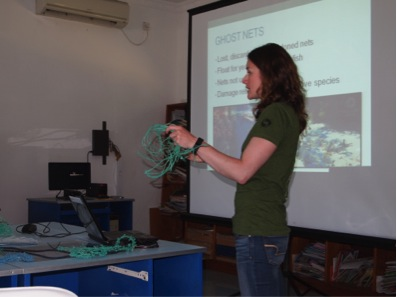 Dr Jillian Hudgins talking about why ghost nets are a serious threat to Marine turtles.