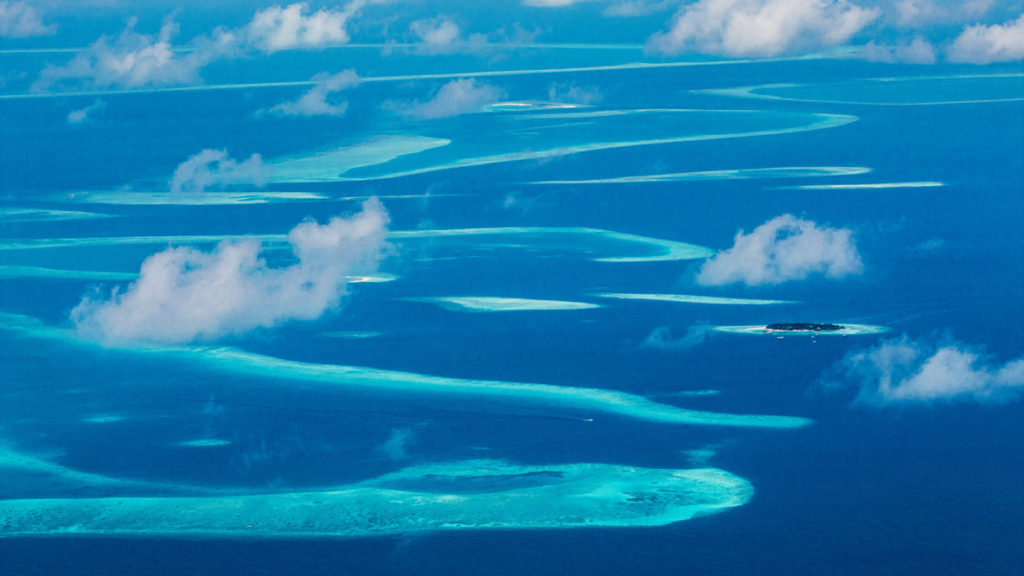 Aerial shot of Maldives atolls