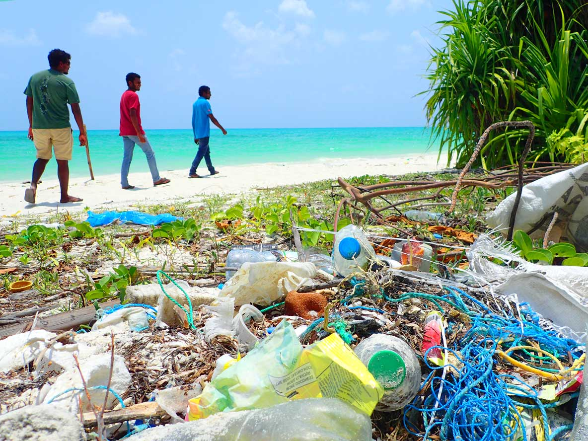 Beach cleaning Maldives
