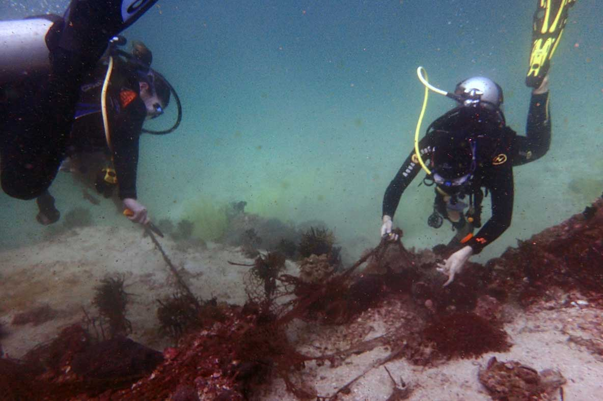 Divers removing ghost net snagged on a reef in Oman