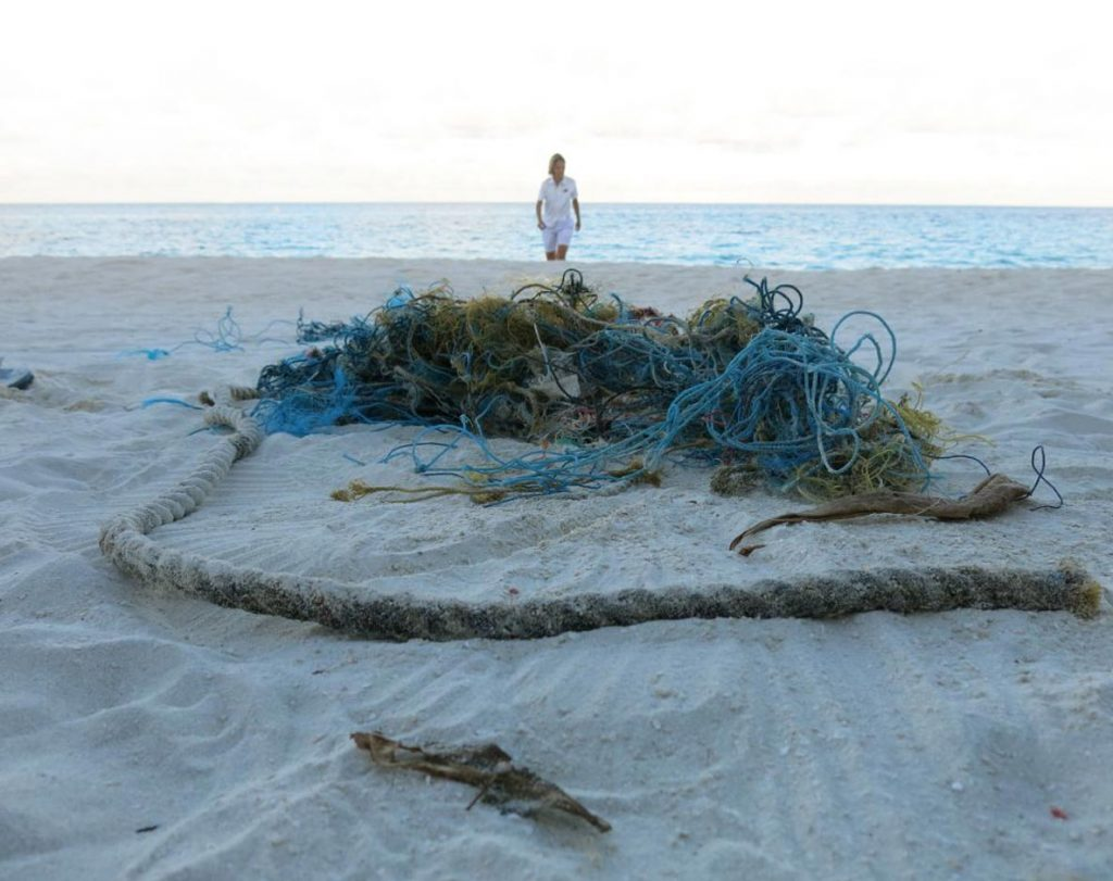 Ghost net washed up on the beach Maldives