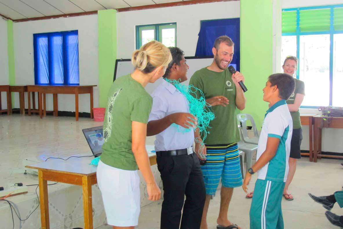 ORP team member at a community outreach event in Maldives