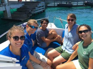 ORP turtle release crew on a boat
