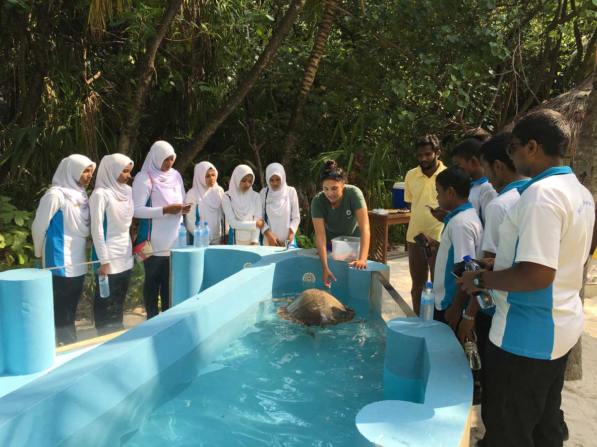 School children visiting the ORP Marine Turtle Rescue Centre Maldives