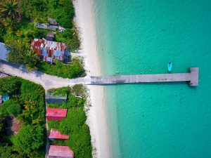 Aerial shot of jetty on Ha.Kelaa Island