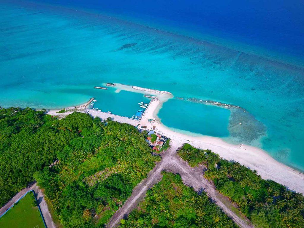 Aerila shot of Ha.Kelaa Harbour, Maldives