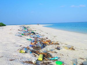 Plastic marine waste on the beach in Ha.Kelaa Island, Maldives