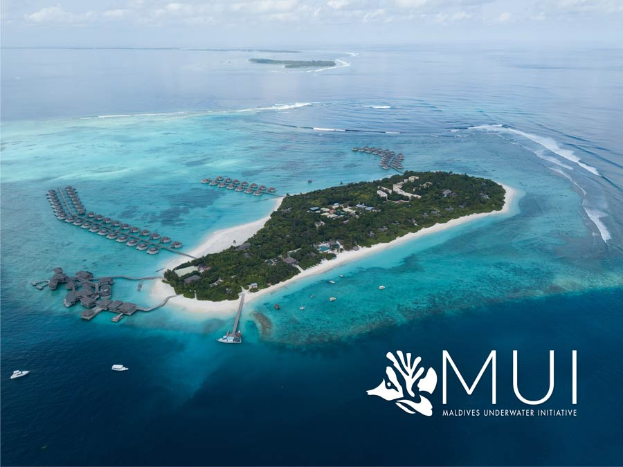 Aerial shot of Six Senses Laamu resort, Maldives