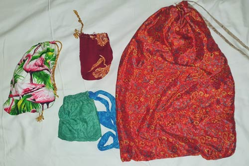 Drawstring bags made from leftover fabrics.