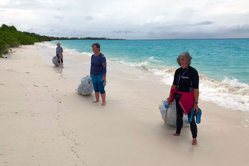 Beach cleaning in Maldives