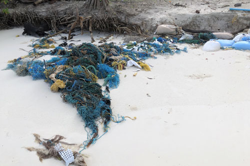 Ghost net on a beach in Maldives.