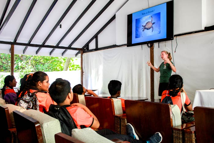 Immaduddin School students participating in a Marine Education Programme at One & Only Reethi Rah