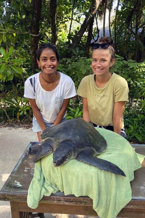 Ghost gear victim olive ridley turtle with his rescuers, Maldives