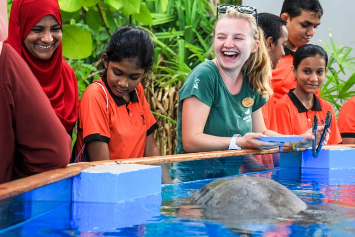 The Marine Education Programme students meeting turtle patient Azura