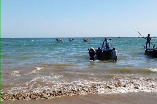 A dive boat being loaded for the first open water dive by ORP Pakistan's team