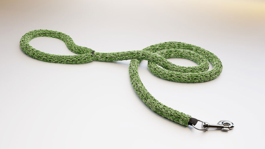 Green ghost leash - dog leash made from ghost gear. Image.