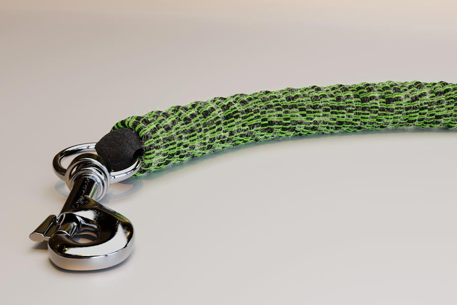 Detail of ghost leash clip. Image.