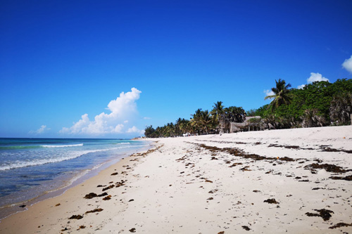 Long white beach in Kenya. Image.