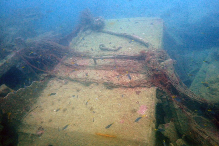Shipwreck covered in ghost gear outside Astola Island. Image.
