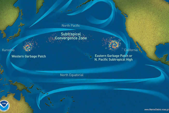 Pacific-garbage-patch-map. Graphic.
